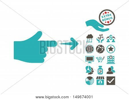 Index Hand pictograph with bonus pictogram. Vector illustration style is flat iconic bicolor symbols, grey and cyan colors, white background.