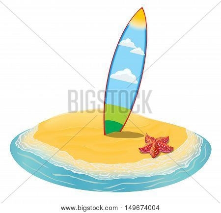 Sea landscape summer beach, surfboards stuck in the sand. Beach of the sea to the island in the distance in summer vacation. Surfboards set. Surfboards collection. Vector flat illustration