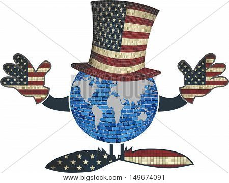 Earth with American hat and hands - Illustration,  Earth globe with American hat