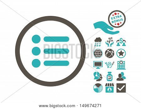 Items pictograph with bonus clip art. Vector illustration style is flat iconic bicolor symbols, grey and cyan colors, white background.