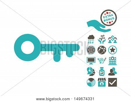 Key icon with bonus design elements. Vector illustration style is flat iconic bicolor symbols, grey and cyan colors, white background.