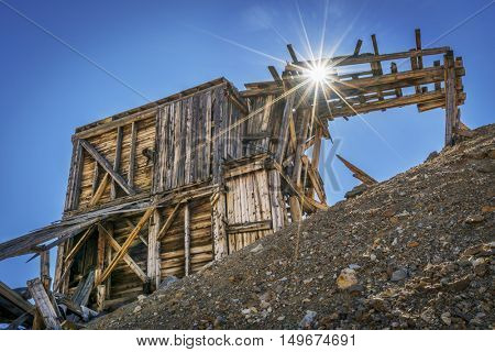 ruins of gold mine near Mosquito Pass in Rocky Mountains, Colorado - upper station of aerial tramway used to transport gold ore