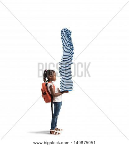 Child with backpack and a study books pile