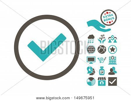 Ok pictograph with bonus pictures. Vector illustration style is flat iconic bicolor symbols, grey and cyan colors, white background.