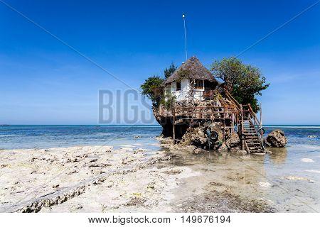 Rock restaurant. Tropical seascape, Zanzibar Island, Tanzania