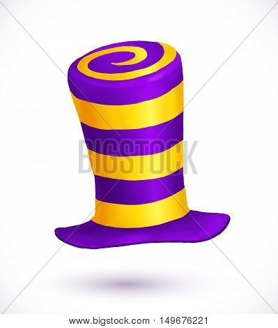 Violet and yellow colors striped realistic vector crazy carnival hat