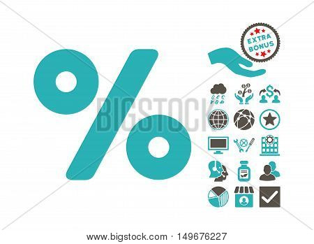 Percent icon with bonus clip art. Vector illustration style is flat iconic bicolor symbols, grey and cyan colors, white background.