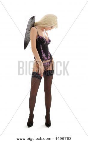 Angel In Black Lingerie Over White