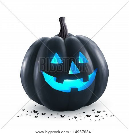 Black Halloween vector pumpkin with blue neon light inside - holiday symbol isolated on white background
