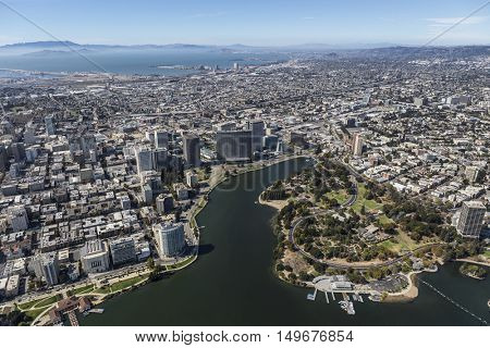 Aerial view of Oakland California and the San Francisco Bay.
