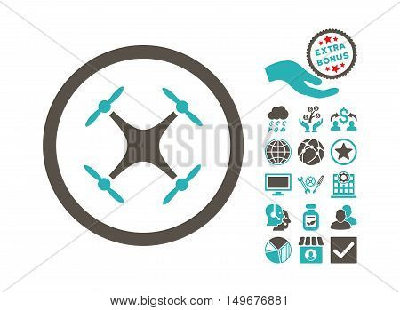 Quadcopter pictograph with bonus elements. Vector illustration style is flat iconic bicolor symbols, grey and cyan colors, white background.