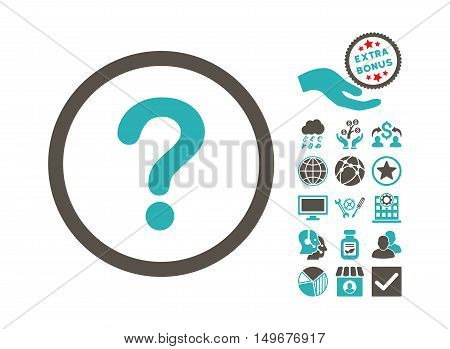 Question pictograph with bonus pictograph collection. Vector illustration style is flat iconic bicolor symbols, grey and cyan colors, white background.