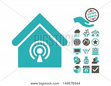 Radio Station pictograph with bonus pictures. Vector illustration style is flat iconic bicolor symbols, grey and cyan colors, white background.