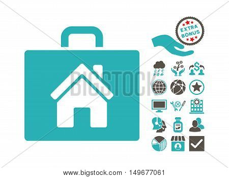 Realty Case icon with bonus pictures. Vector illustration style is flat iconic bicolor symbols, grey and cyan colors, white background.
