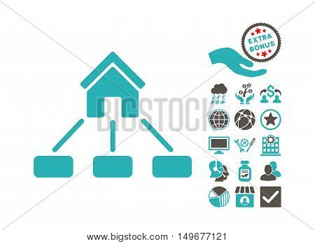Realty Links icon with bonus clip art. Vector illustration style is flat iconic bicolor symbols, grey and cyan colors, white background.