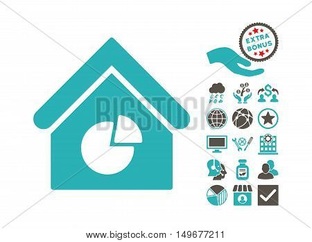 Realty Pie Chart icon with bonus icon set. Vector illustration style is flat iconic bicolor symbols, grey and cyan colors, white background.
