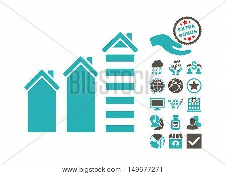 Realty Trend icon with bonus elements. Vector illustration style is flat iconic bicolor symbols, grey and cyan colors, white background.