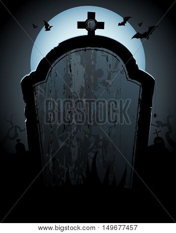 Halloween background with tomb and place for text, rasterized version