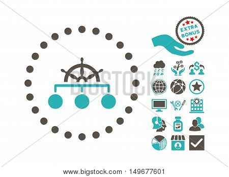 Rule icon with bonus icon set. Vector illustration style is flat iconic bicolor symbols, grey and cyan colors, white background.