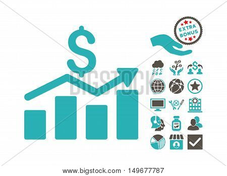 Sales Chart pictograph with bonus icon set. Vector illustration style is flat iconic bicolor symbols, grey and cyan colors, white background.