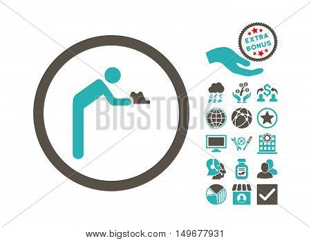 Servant icon with bonus symbols. Vector illustration style is flat iconic bicolor symbols, grey and cyan colors, white background.