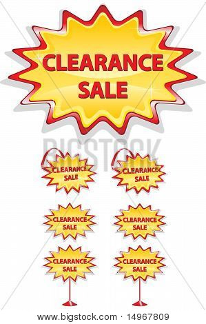 Set Of Red And Yellow Sale Icons Isolated On White - Clearance Sale