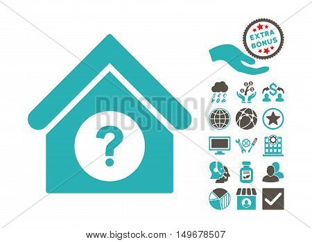 Status Building icon with bonus images. Vector illustration style is flat iconic bicolor symbols, grey and cyan colors, white background.