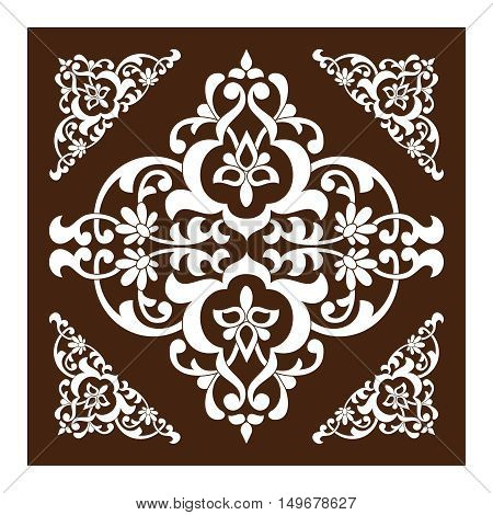 Vector pattern in East Asia style as a template for tiles backgrounds covers postcards wallpapers textiles. White floral swirls on a brown backdrop.