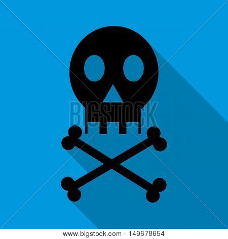 Skull icon in flat style with long shadow. Death symbol vector illustration