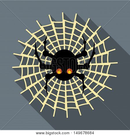 Spider on cobweb icon in flat style with long shadow. Insect symbol vector illustration