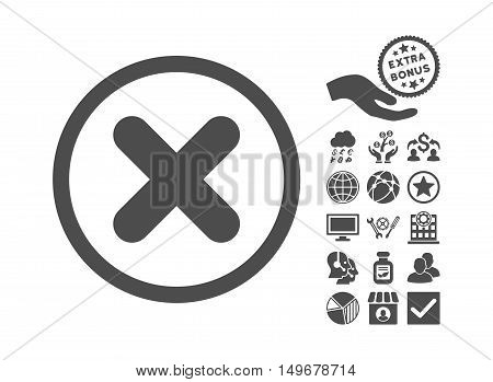 Cancel icon with bonus pictogram. Vector illustration style is flat iconic symbols gray color white background.
