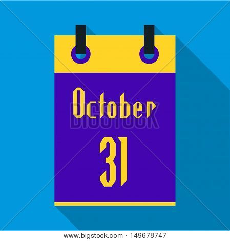 Calendar october thirty first icon in flat style with long shadow. Date of Halloween symbol vector illustration