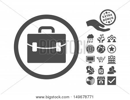 Case icon with bonus pictogram. Vector illustration style is flat iconic symbols gray color white background.