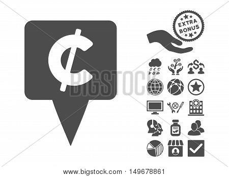 Cent Map Pointer icon with bonus pictures. Vector illustration style is flat iconic symbols gray color white background.