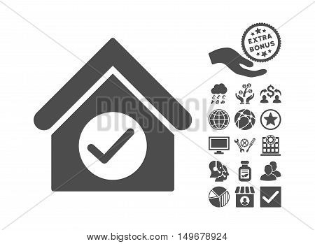 Check Building icon with bonus pictures. Vector illustration style is flat iconic symbols gray color white background.