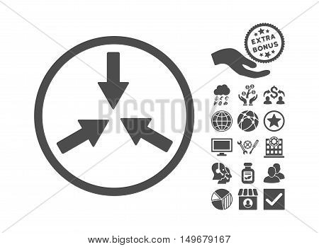 Collide Arrows icon with bonus symbols. Vector illustration style is flat iconic symbols gray color white background.