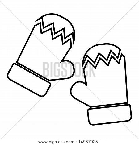Mittens icon in outline style isolated on white background. Accessory symbol vector illustration