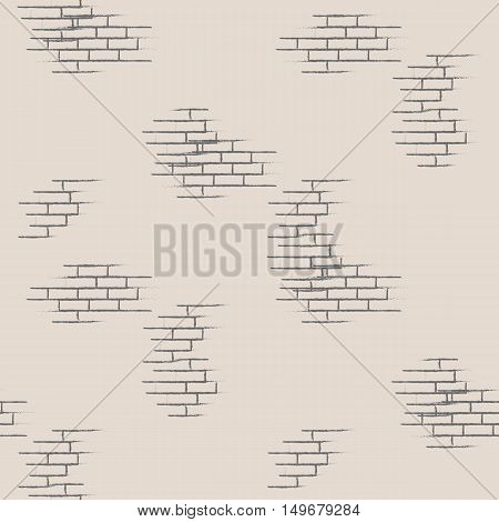 Simple geometric seamless vector illustration. Elements of brickwork on a gray background