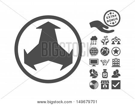 Directions icon with bonus images. Vector illustration style is flat iconic symbols gray color white background.
