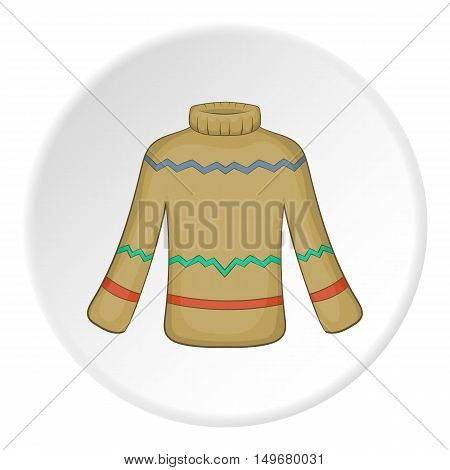 Mens sweater icon in cartoon style on white circle background. Clothing symbol vector illustration