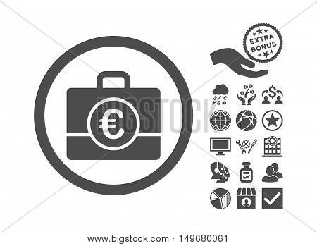 Euro Accounting Case pictograph with bonus pictogram. Vector illustration style is flat iconic symbols, gray color, white background.