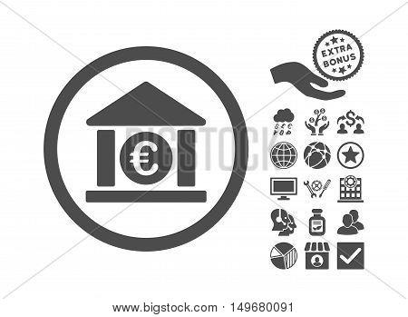Euro Bank icon with bonus design elements. Vector illustration style is flat iconic symbols, gray color, white background.