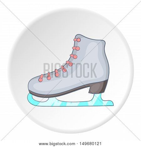 Skates icon in cartoon style on white circle background. Winter sport symbol vector illustration