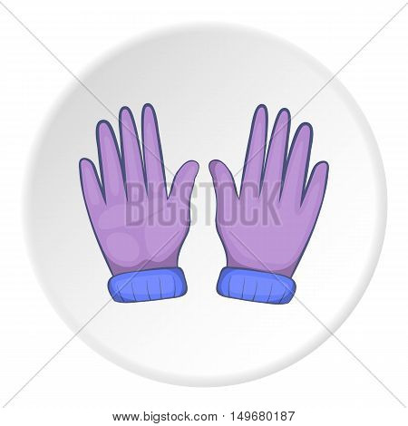 Winter gloves icon in cartoon style on white circle background. Accessory symbol vector illustration