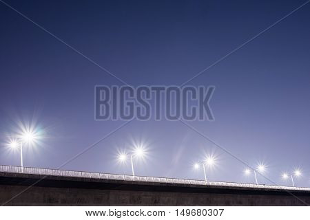 Bridge with lights at night time in Seoul