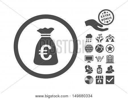 Euro Money Bag pictograph with bonus images. Vector illustration style is flat iconic symbols gray color white background.