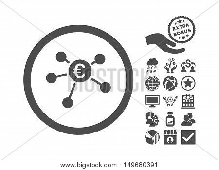 Euro Payments icon with bonus clip art. Vector illustration style is flat iconic symbols gray color white background.