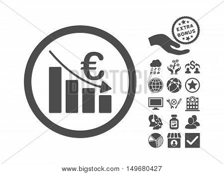 Euro Recession pictograph with bonus elements. Vector illustration style is flat iconic symbols gray color white background.