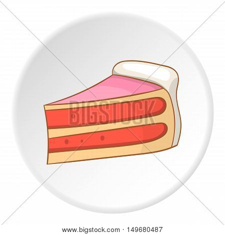 Piece of cake icon in cartoon style on white circle background. Food symbol vector illustration