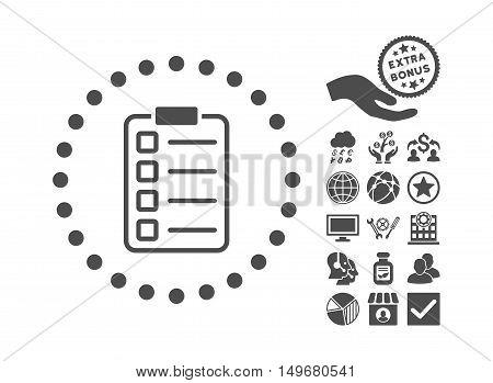 Examination icon with bonus images. Vector illustration style is flat iconic symbols gray color white background.
